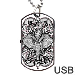 Ornate Hindu Elephant  Dog Tag Usb Flash (two Sides)