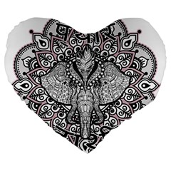 Ornate Hindu Elephant  Large 19  Premium Flano Heart Shape Cushions