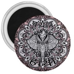 Ornate Hindu Elephant  3  Magnets by Valentinaart