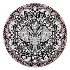 Ornate Hindu Elephant  Magnet 5  (round) by Valentinaart