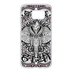 Ornate Hindu Elephant  Samsung Galaxy S7 Edge White Seamless Case by Valentinaart