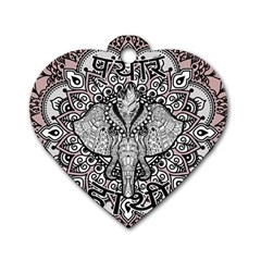 Ornate Hindu Elephant  Dog Tag Heart (two Sides) by Valentinaart