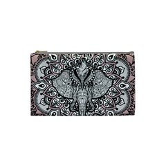 Ornate Hindu Elephant  Cosmetic Bag (small)  by Valentinaart