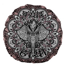 Ornate Hindu Elephant  Large 18  Premium Flano Round Cushions by Valentinaart