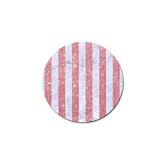 Stripes1 White Marble & Pink Glitter Golf Ball Marker by trendistuff
