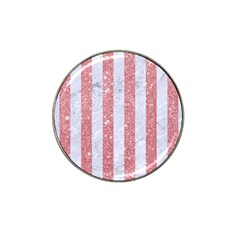 Stripes1 White Marble & Pink Glitter Hat Clip Ball Marker (4 Pack) by trendistuff