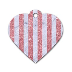 Stripes1 White Marble & Pink Glitter Dog Tag Heart (one Side) by trendistuff