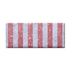 Stripes1 White Marble & Pink Glitter Hand Towel by trendistuff
