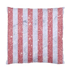 Stripes1 White Marble & Pink Glitter Standard Cushion Case (two Sides) by trendistuff