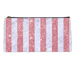 Stripes1 White Marble & Pink Glitter Pencil Cases by trendistuff