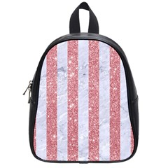 Stripes1 White Marble & Pink Glitter School Bag (small) by trendistuff