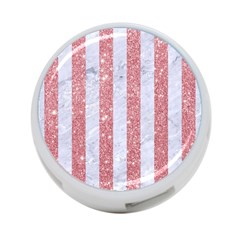 Stripes1 White Marble & Pink Glitter 4 Port Usb Hub (two Sides)  by trendistuff