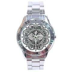 Ornate Hindu Elephant  Stainless Steel Analogue Watch