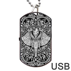 Ornate Hindu Elephant  Dog Tag Usb Flash (one Side)