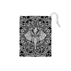 Ornate Hindu Elephant  Drawstring Pouches (small)