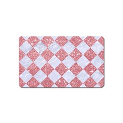 Square2 White Marble & Pink Glitter Magnet (name Card) by trendistuff