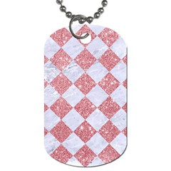 Square2 White Marble & Pink Glitter Dog Tag (one Side) by trendistuff