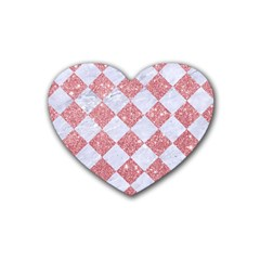 Square2 White Marble & Pink Glitter Heart Coaster (4 Pack)  by trendistuff