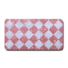 Square2 White Marble & Pink Glitter Medium Bar Mats by trendistuff