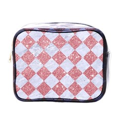 Square2 White Marble & Pink Glitter Mini Toiletries Bags by trendistuff