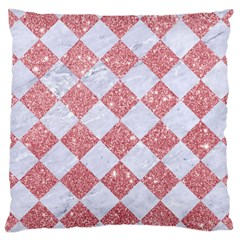 Square2 White Marble & Pink Glitter Large Cushion Case (one Side) by trendistuff