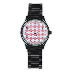 Square2 White Marble & Pink Glitter Stainless Steel Round Watch by trendistuff