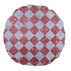 Square2 White Marble & Pink Glitter Large 18  Premium Flano Round Cushions by trendistuff