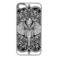 Ornate Hindu Elephant  Apple Iphone 5 Case (silver) by Valentinaart
