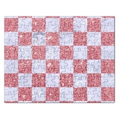 Square1 White Marble & Pink Glitter Rectangular Jigsaw Puzzl by trendistuff