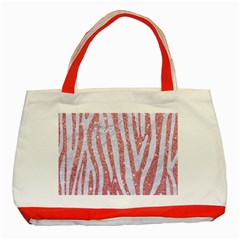 Skin4 White Marble & Pink Glitter (r) Classic Tote Bag (red) by trendistuff