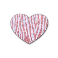Skin4 White Marble & Pink Glitter (r) Heart Coaster (4 Pack)  by trendistuff