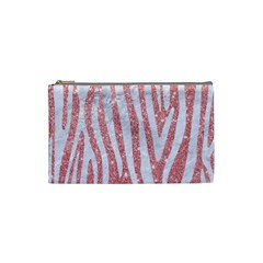Skin4 White Marble & Pink Glitter (r) Cosmetic Bag (small)  by trendistuff