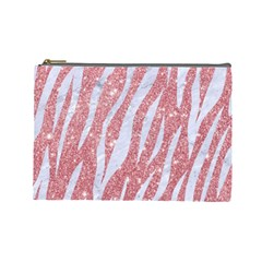 Skin3 White Marble & Pink Glitter Cosmetic Bag (large)  by trendistuff