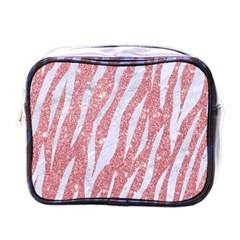 Skin3 White Marble & Pink Glitter Mini Toiletries Bags by trendistuff