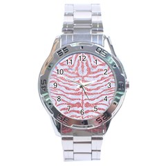 Skin2 White Marble & Pink Glitter (r) Stainless Steel Analogue Watch by trendistuff