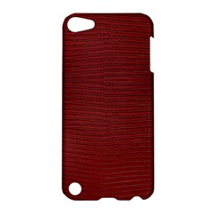 Red Lizard Leather Print Apple Ipod Touch 5 Hardshell Case by LoolyElzayat