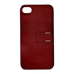 Red Lizard Leather Print Apple Iphone 4/4s Hardshell Case With Stand