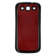 Red Lizard Leather Print Samsung Galaxy S3 Back Case (black)