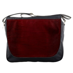 Red Lizard Leather Print Messenger Bags by LoolyElzayat