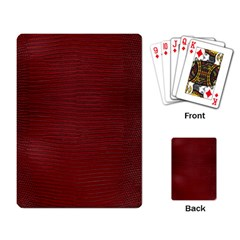 Red Lizard Leather Print Playing Card by LoolyElzayat
