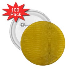 Yellow Alligator Skin 2 25  Buttons (100 Pack)  by LoolyElzayat