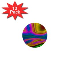 Colorful Waves 1  Mini Magnet (10 Pack)