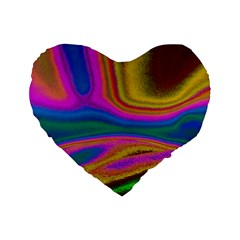 Colorful Waves Standard 16  Premium Heart Shape Cushions