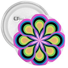 Colorful Feathers Mandala 3  Buttons