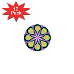 Colorful Feathers Mandala 1  Mini Buttons (10 Pack)
