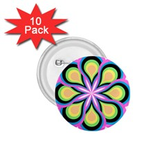 Colorful Feathers Mandala 1 75  Buttons (10 Pack)