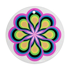 Colorful Feathers Mandala Round Ornament (two Sides)