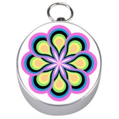 Colorful Feathers Mandala Silver Compasses