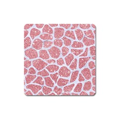 Skin1 White Marble & Pink Glitter (r) Square Magnet by trendistuff