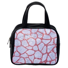Skin1 White Marble & Pink Glitter Classic Handbags (one Side) by trendistuff